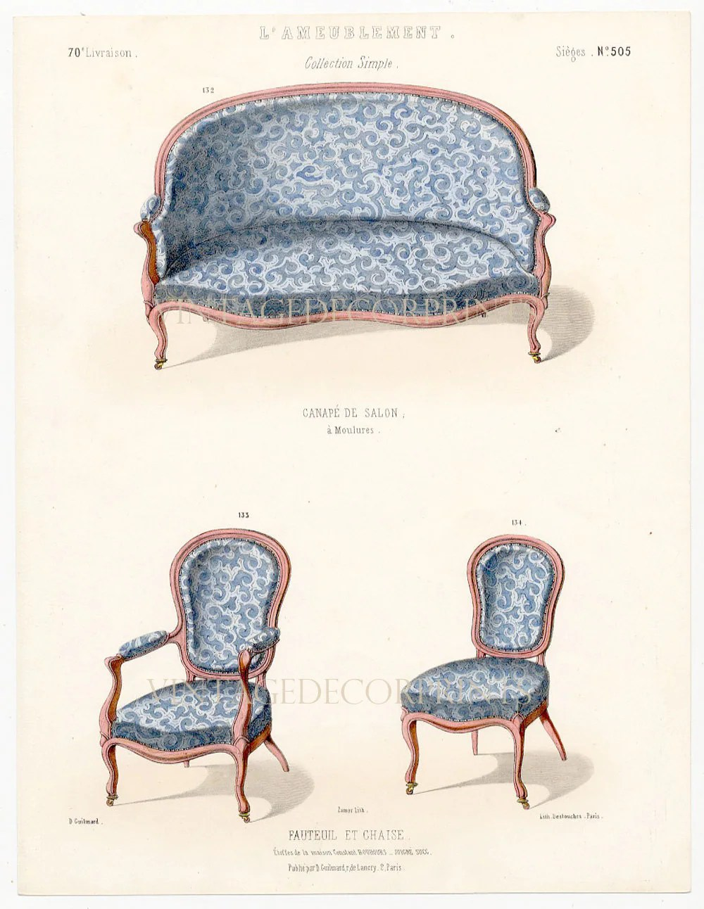 Salon Louis Xiv Meuble Interior Design Print Of French Furniture Chairs By Guilmard Paris C1866 Original French Antique Hand Coloured Lithograph Decorative Print