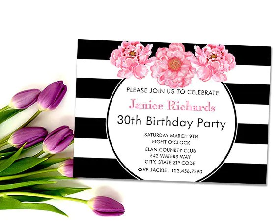 Stripes and Floral Birthday Invitation Printable Black and Etsy
