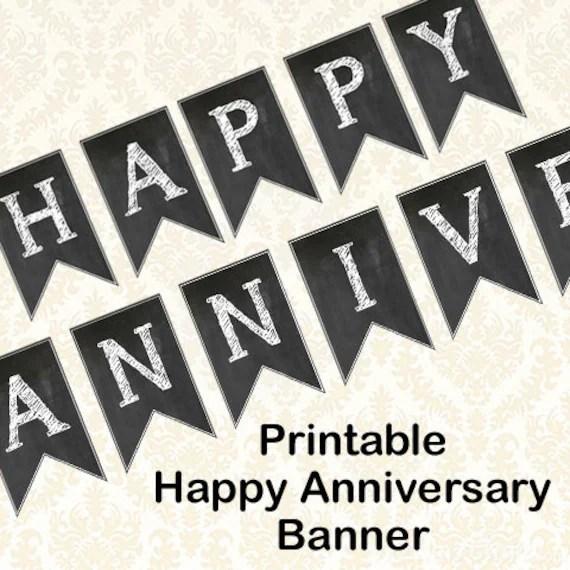 Happy Anniversary Banner Diy Printable Chalkboard Anniversary Etsy
