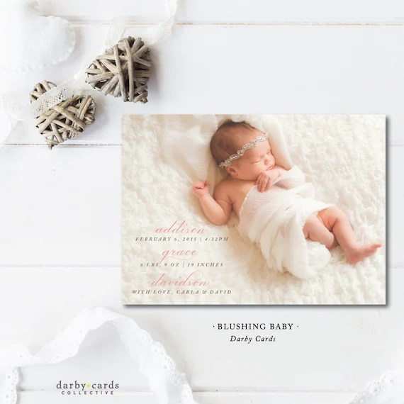 Blushing Baby Printed Announcements Baby Announcement Etsy
