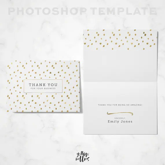 Thank You Card Template Photoshop Template Folded Thank Etsy