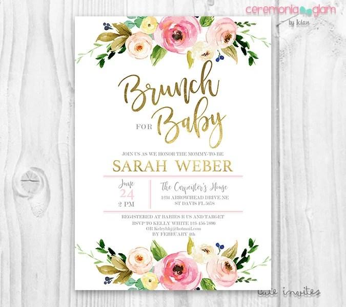 Baby shower Invitation girl, Brunch For Baby Invitation girl, baby