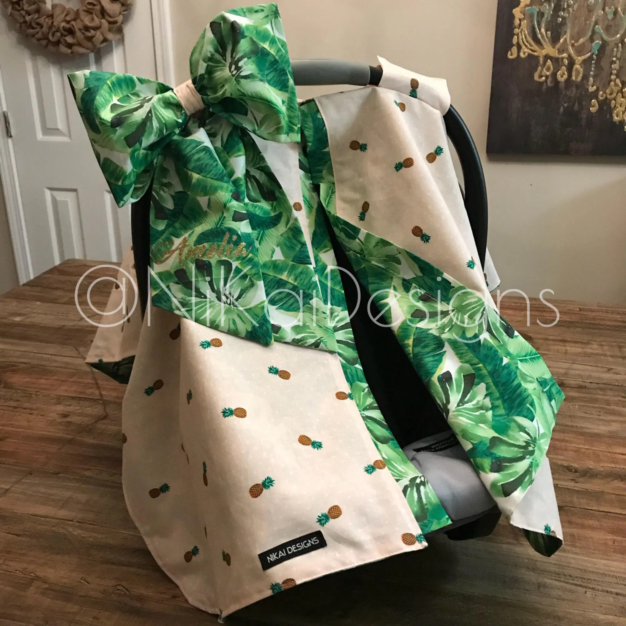 Infant Carrier Military Carseat Canopy Car Seat Cover Blanket Tent Carrier Cover Baby Infant Carrier Cover Personalized W Bow Hawaiian Tropical Pineapple Leaves