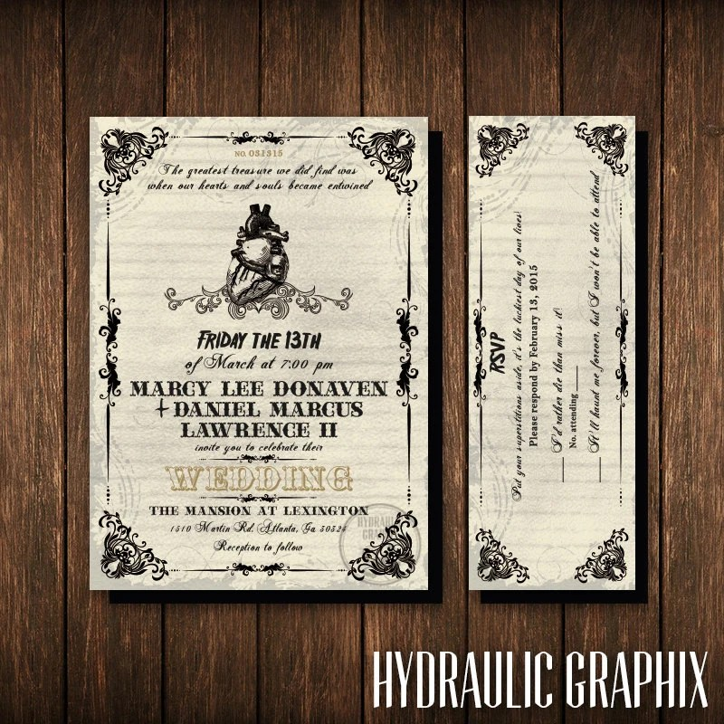 Friday the 13th Wedding Invitation and RSVP Ticket Gothic Etsy