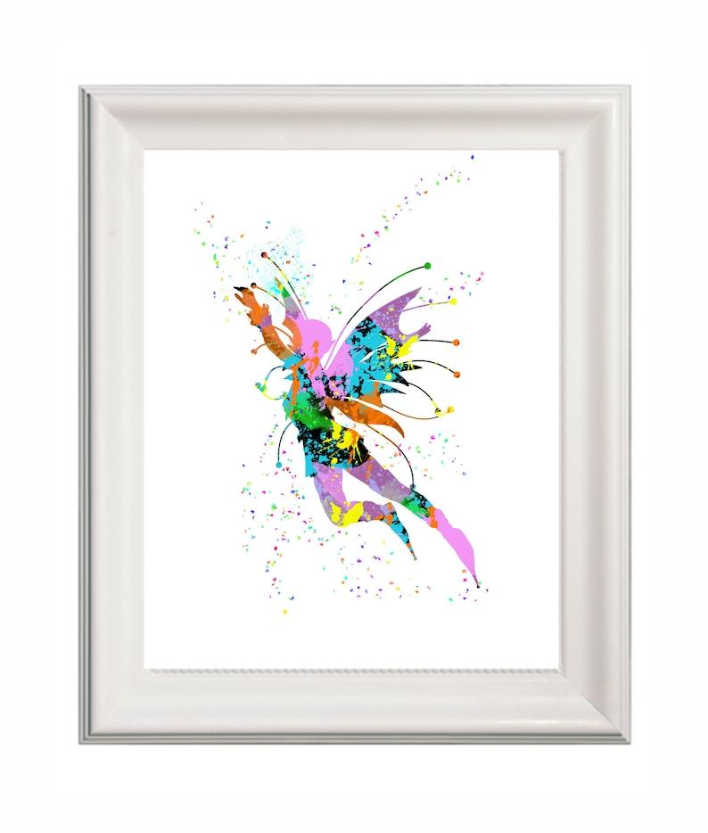 Art print fairy print splatter artwork fairy silhouette Etsy