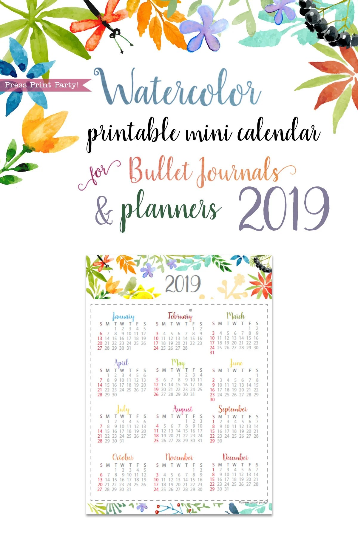 2019 Mini Calendar for Bullet Journals  Planners Printable