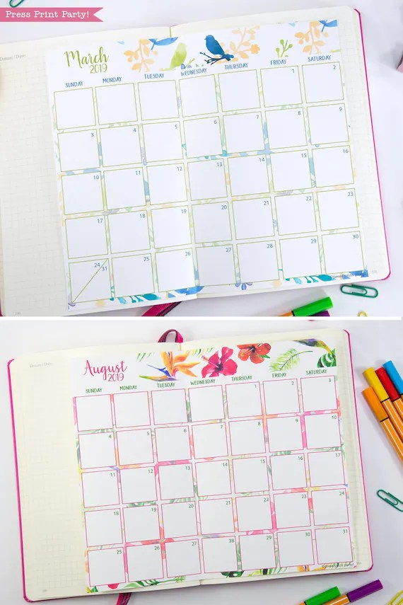 2019 Monthly Calendar for Bullet Journals and Planners, Printable