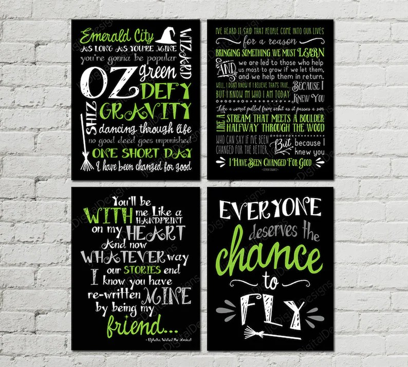 Printable Set of Wicked Musical Quotes Subway Art Word Art Etsy
