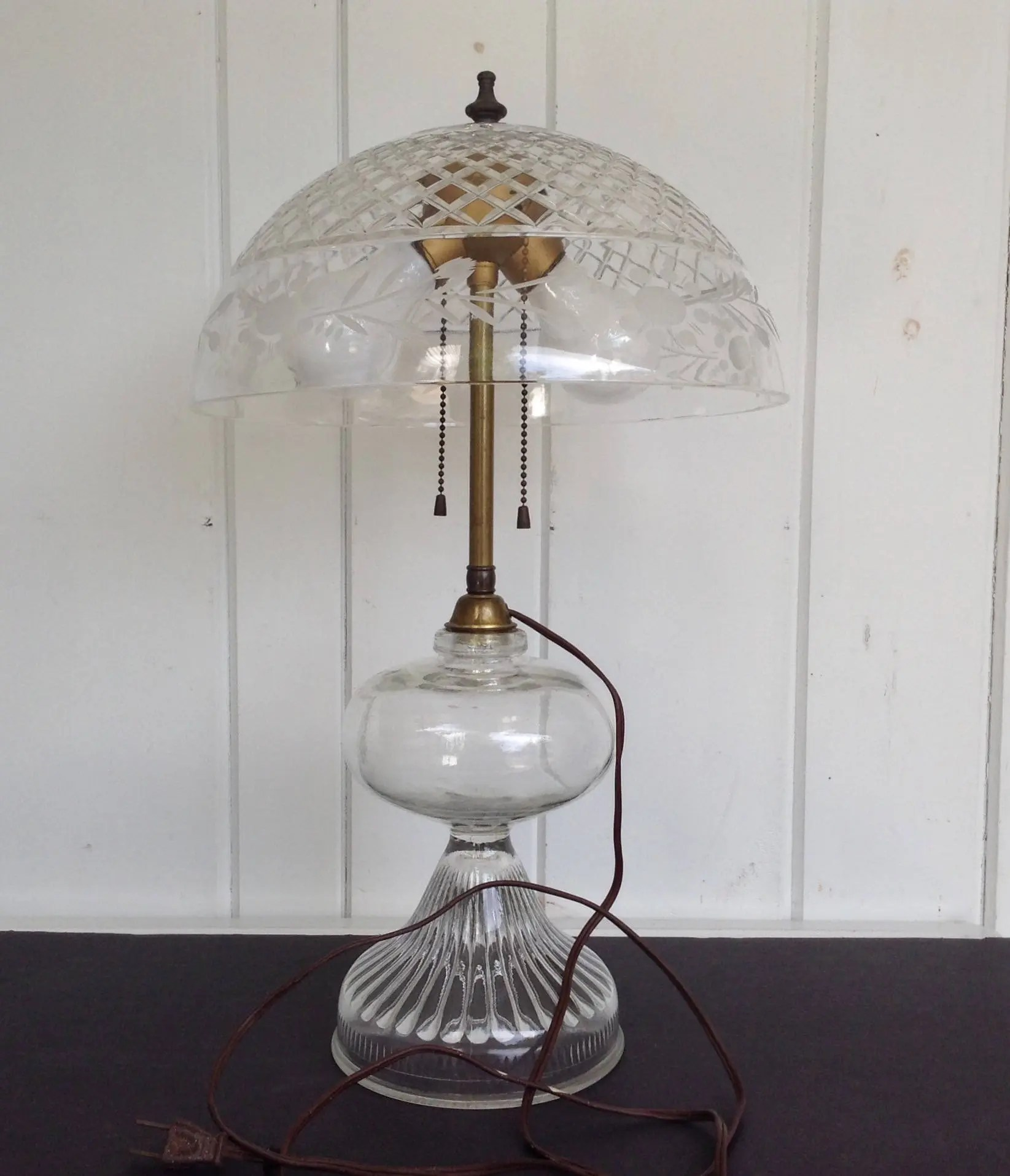 Glass Lamp Bowl Vintage Electrified Clear Oil Lamp With Cut Glass Bowl Shade Globe Electric