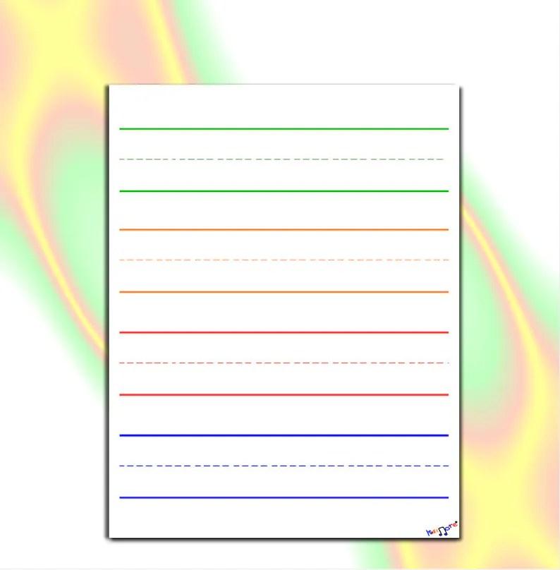 Preschool Writing Paper Lined Paper for Kindergarten Etsy