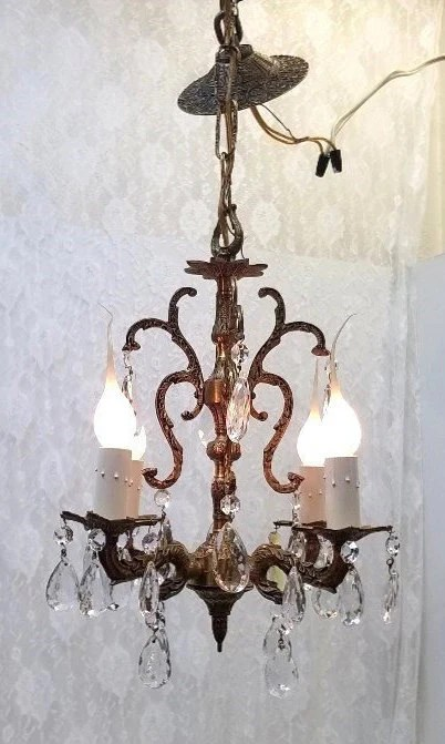 Spanish Chandelier Small Brass Crystal Chandelier Four Light Petite Crystal Chandelier Spanish Bathroom Chandelier Closet Chandelier Hallway Chandelier Dd 1499