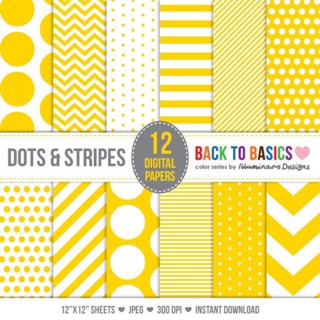 Yellow Digital Paper Digital Paper Pack in Yellow Polka Dots Etsy