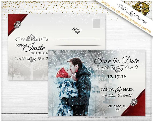 Holiday Save the Date Winter Wonderland Christmas Wedding