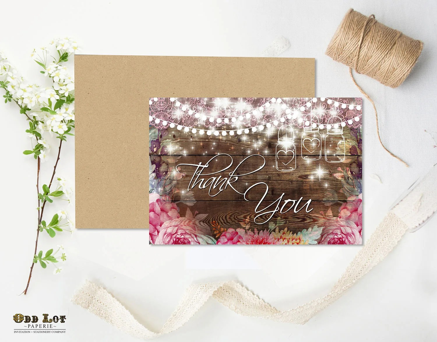 Rustic Spring thank you card Summer Wedding Greeting card pink