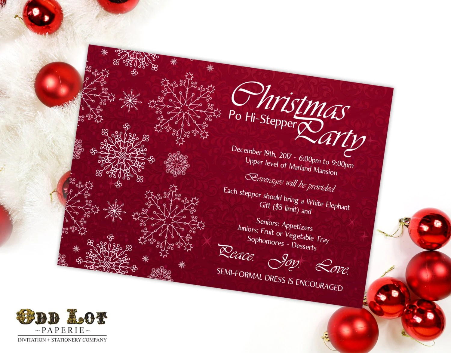 Snowflake Christmas invitation Printable Christmas Invites Etsy