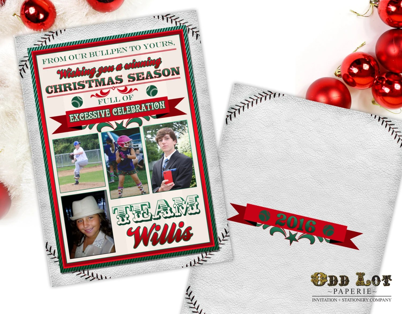 Baseball Christmas Cards Sports Themed Christmas Cards Printable