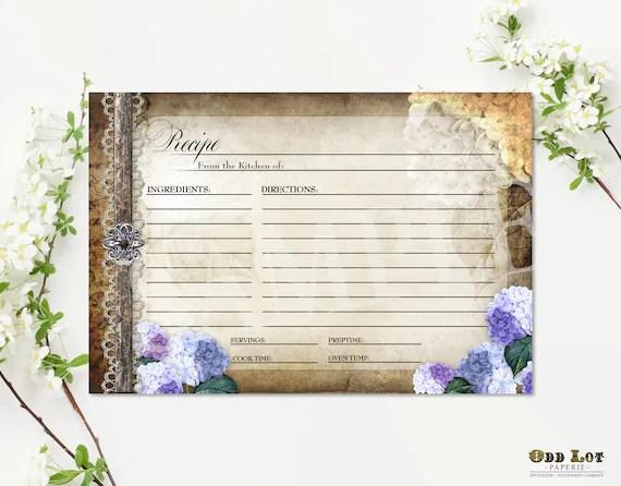 Rustic Recipe Cards - Hydrangea Recipe Cards Printable - Floral