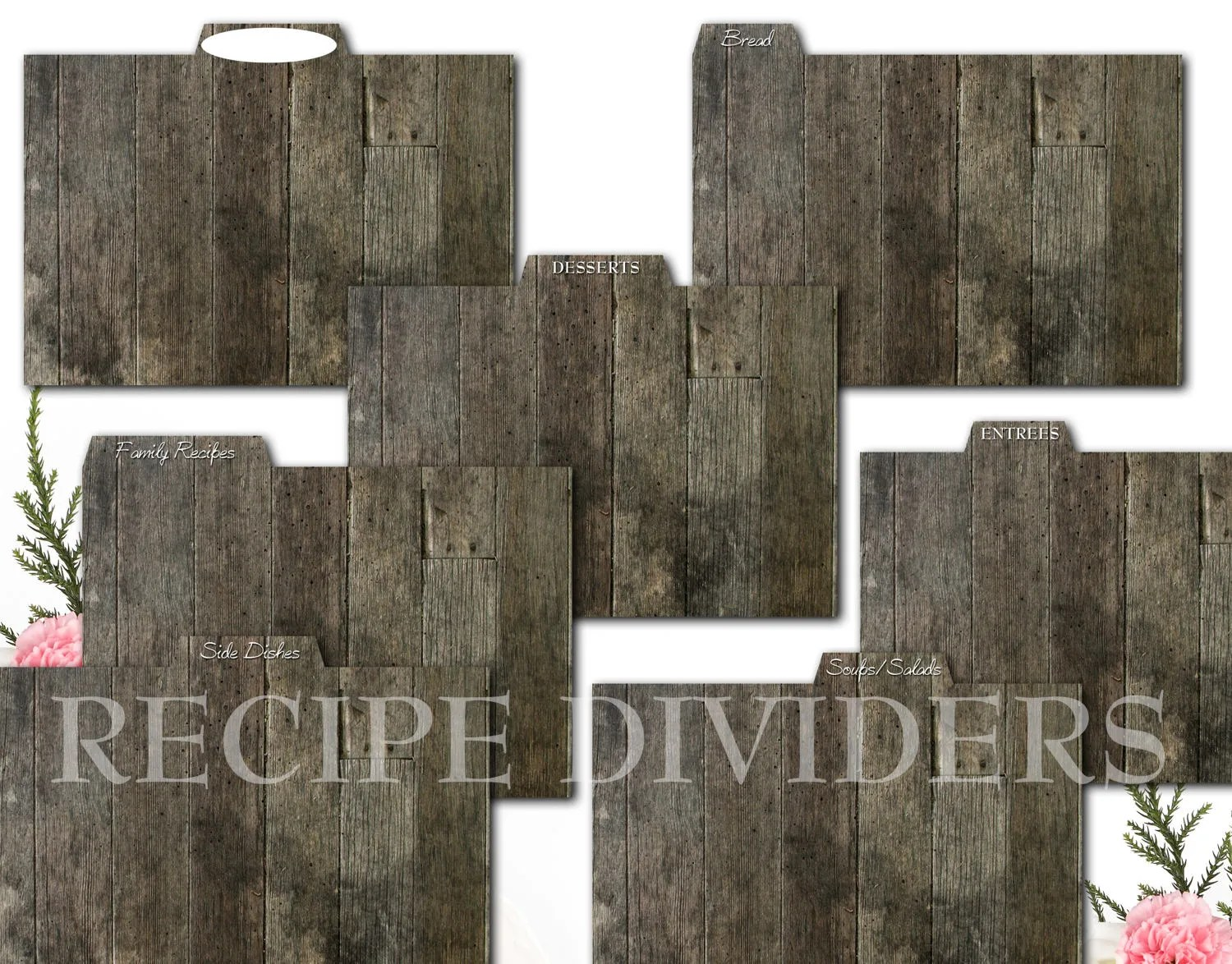 Rustic Wood Recipe Card Dividers for Kitchen Recipe Storage