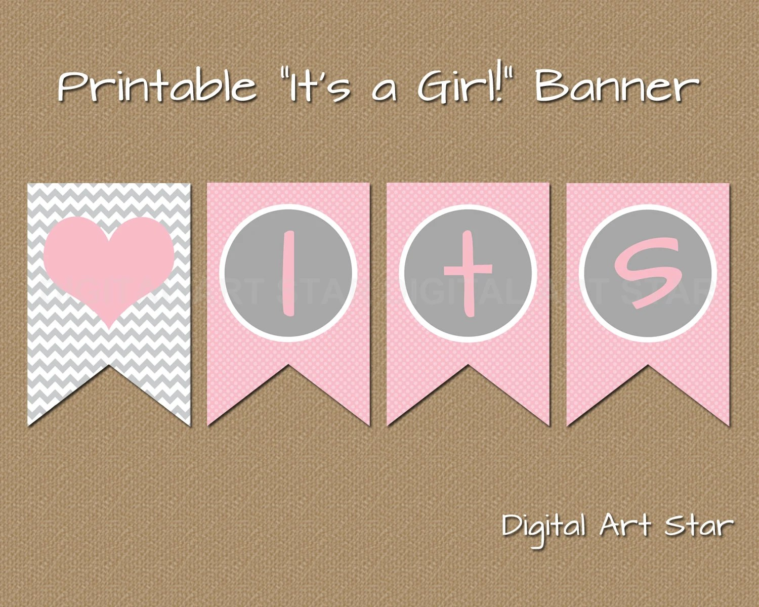 Printable Baby Shower Banner DIY Its a Girl Banner Pink Etsy