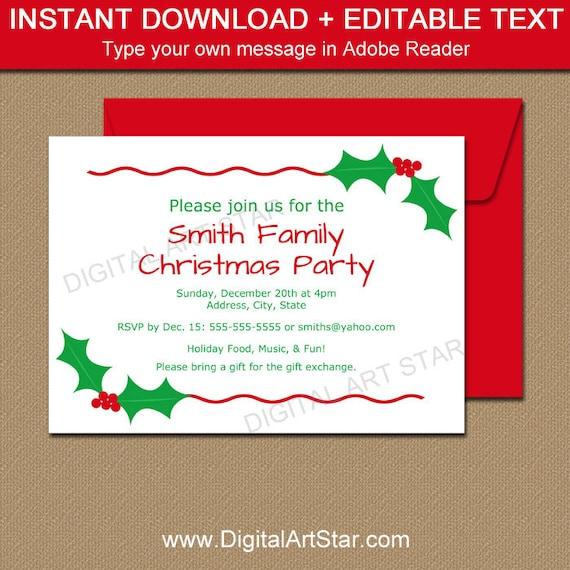 EDITABLE Christmas Party Invitation - Christmas Holly Invite