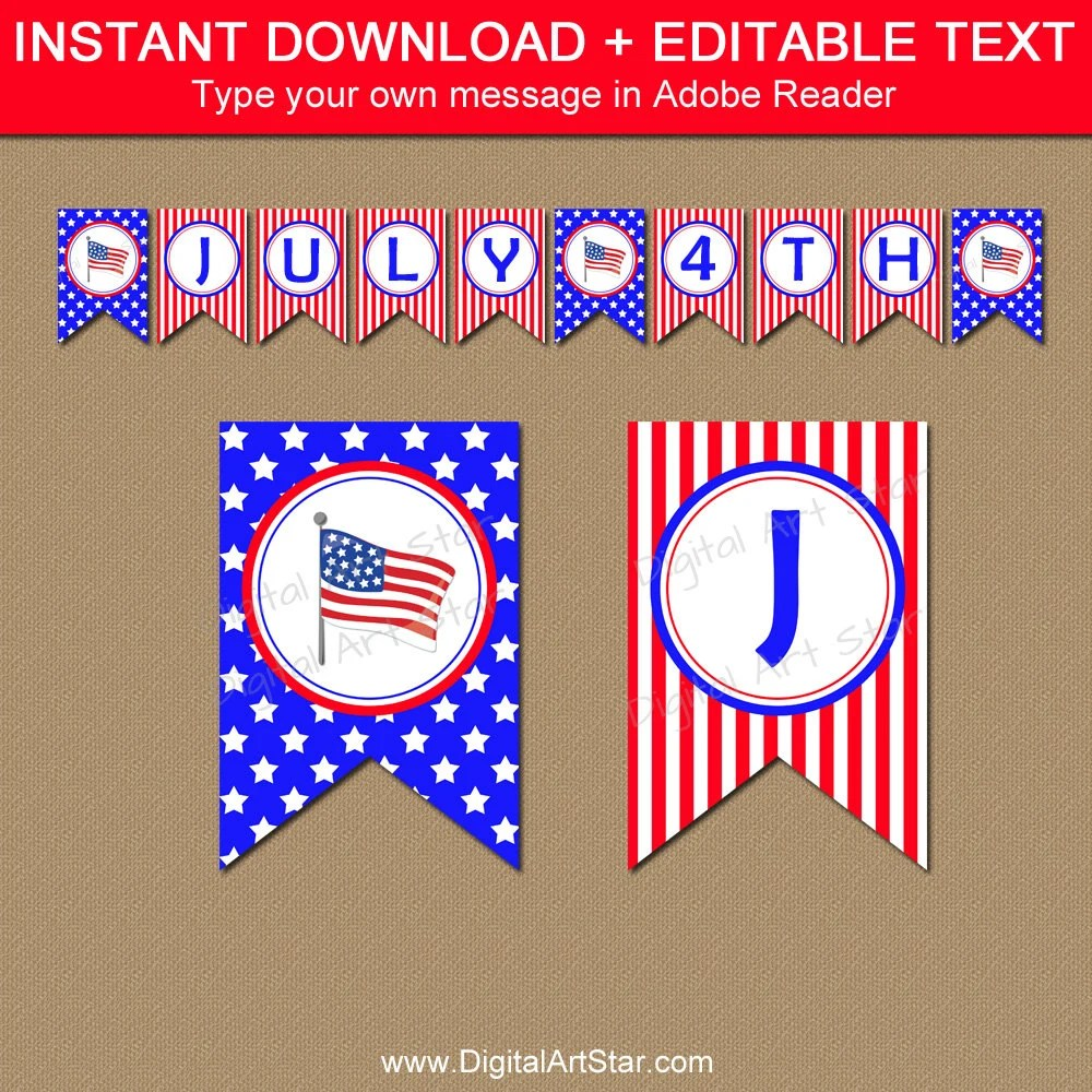 Printable 4th of July Banner Template Fourth of July Etsy - 4th of july template