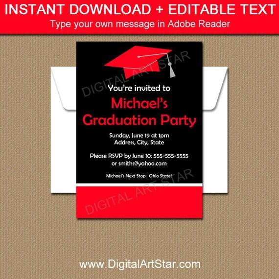 Editable Graduation Invitation Template - PRINTABLE High School