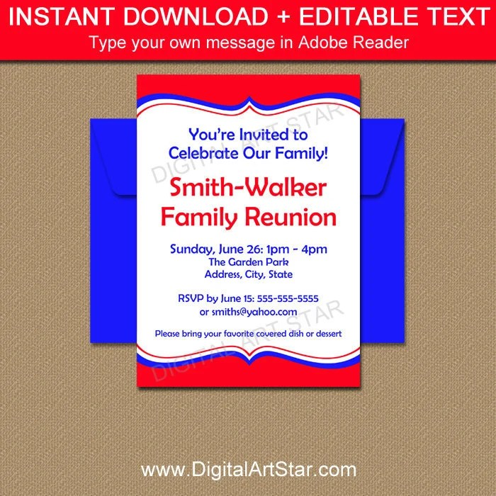 Family Reunion Invitation Template Printable Family Picnic