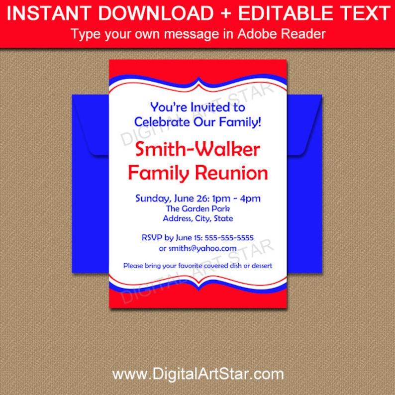 Family Reunion Invitation Template Printable Family Picnic Etsy