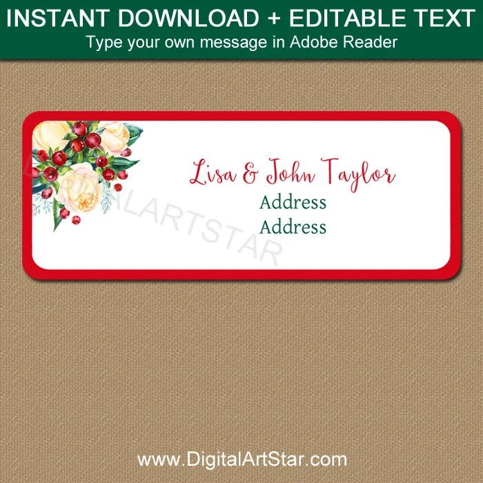 Printable Address Labels, Christmas Address Stickers, DIY Return