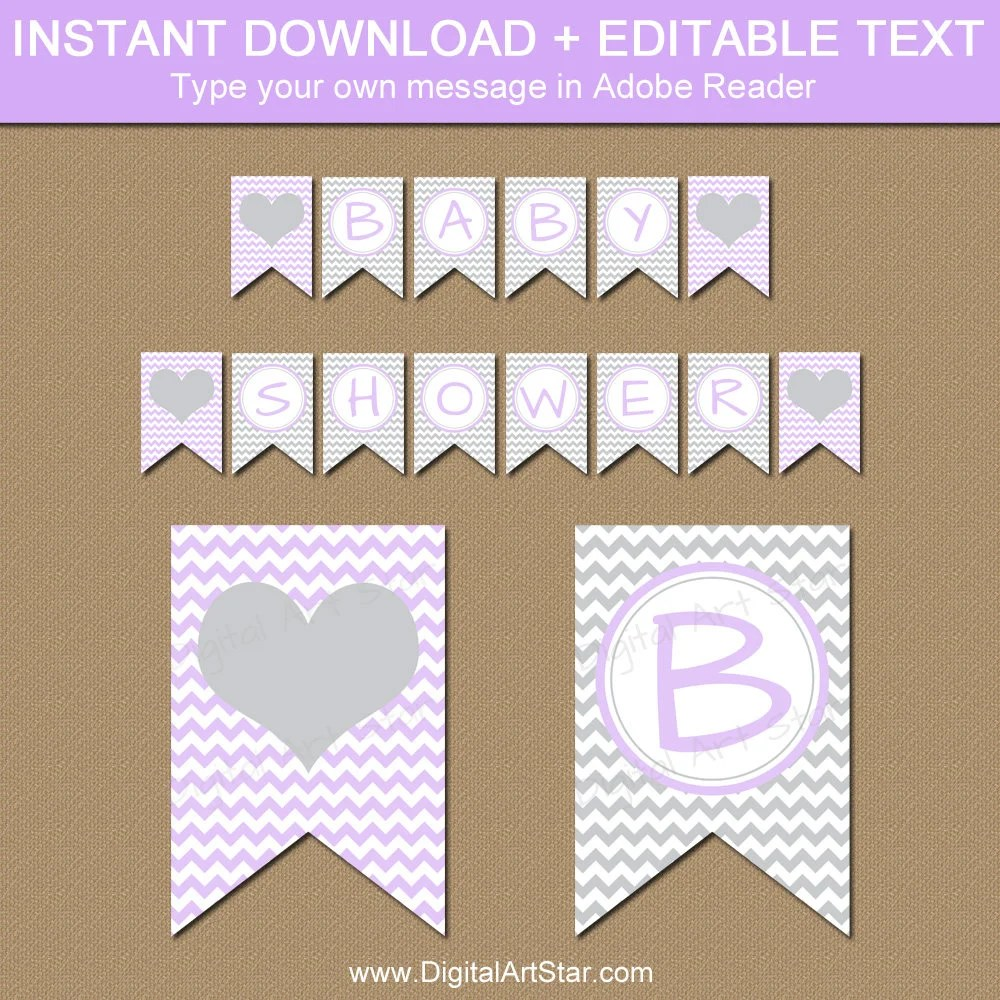 Lavender and Grey Baby Shower Banner PRINTABLE Baby Banner Etsy