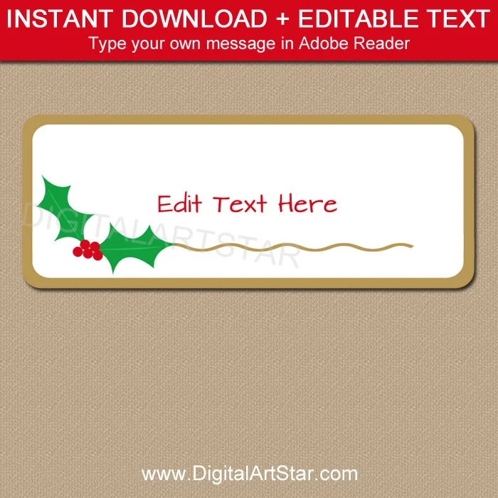 Christmas Address Labels Holly, Address Label Template, Printable