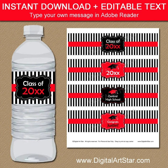 Graduation Water Bottle Label Template Graduation Drink Etsy