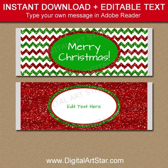 Christmas Party Favors for Guests, Holiday Candy Bar Wrappers