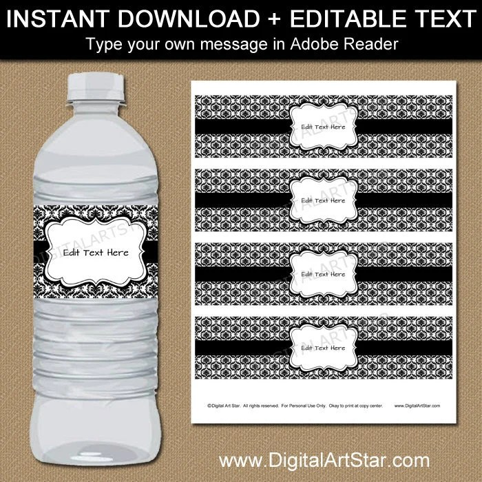 Black and White Water Bottle Labels, 40th Birthday, 60th Birthday