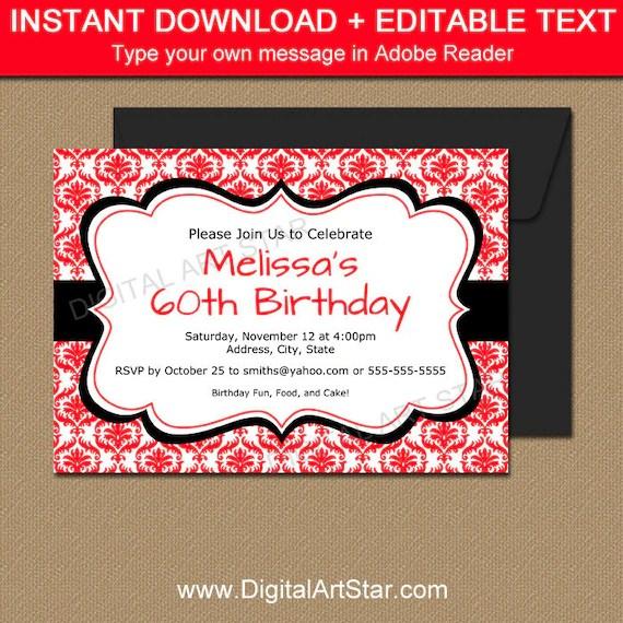 Red and Black Invitation Template, EDITABLE Red Birthday Invitation