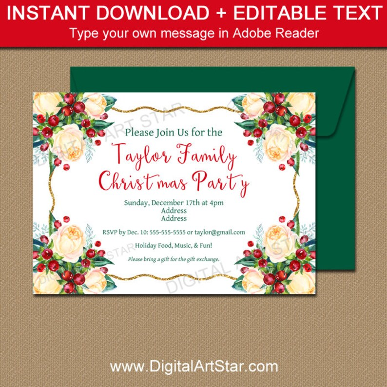 Christmas Party Invitation Template Holiday Party Invite Etsy