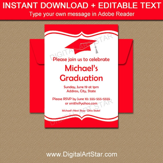 Graduation Invitation Instant Download, Class Reunion Invitation