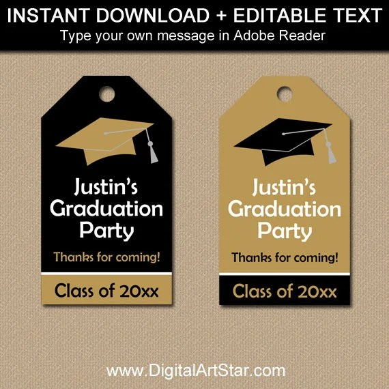 2019 Graduation Thank You Tags Black and Gold Graduation Hang Etsy