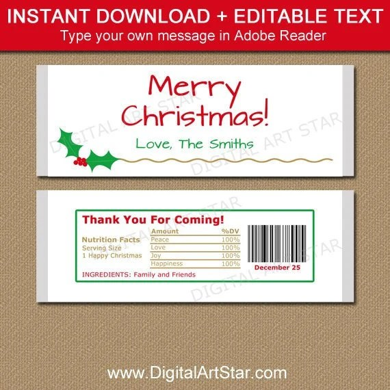 Christmas Candy Bar Wrapper Template, Printable Holiday Chocolate