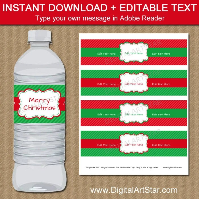 Christmas Water Bottle Label Template, Red and Green Holiday Water