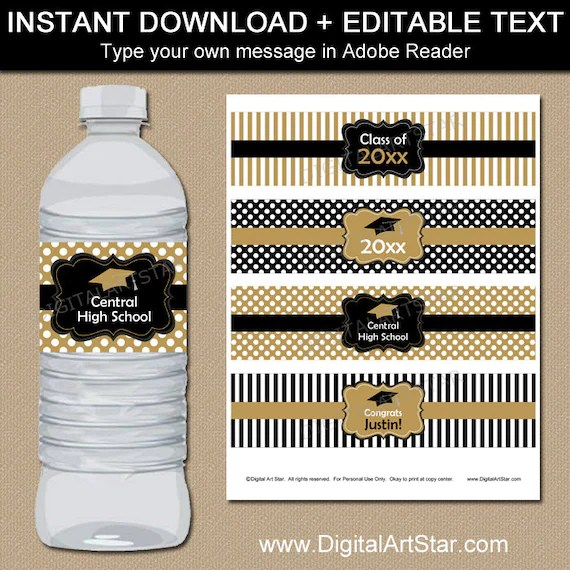 Black and Gold Graduation Water Bottle Label Template Etsy