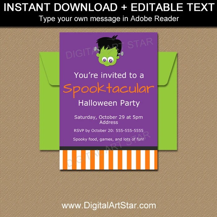 Monster Invitation Template Monster Halloween Invitation Boy Etsy