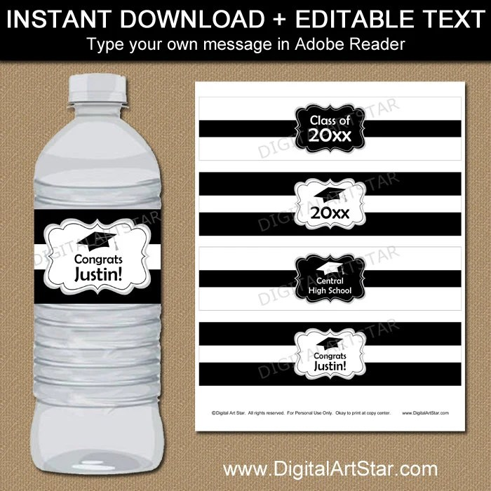 Black and White Graduation Water Bottle Label Template High Etsy
