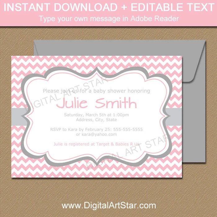 Pink and Gray Baby Shower Invitation Template EDITABLE Baby Etsy