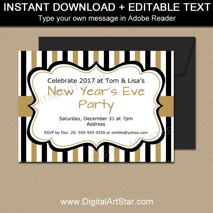 New Years Invitation Template EDITABLE New Years Party Etsy
