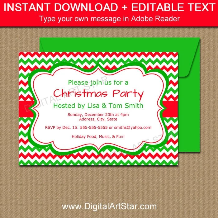 EDITABLE Holiday Invitation Template Red  Green Chevron Etsy
