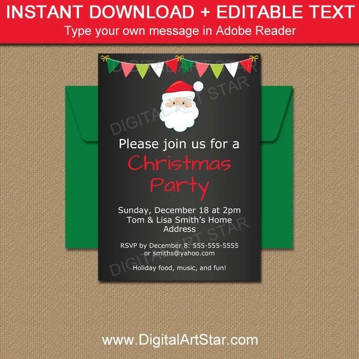Printable Santa Invitation Christmas Chalkboard Invitation Etsy