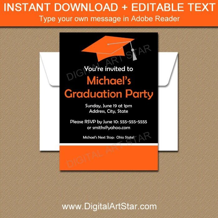Graduation Party Invitation Template College Graduation Etsy