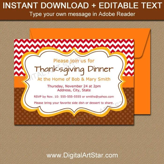 Thanksgiving Invitation Template Thanksgiving Birthday Etsy