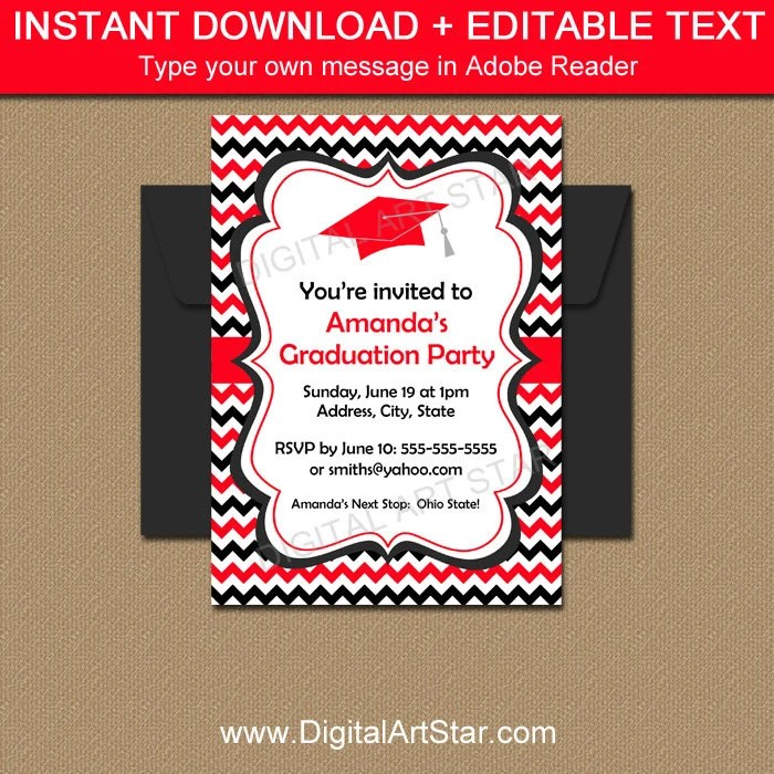Graduation Invitation Template, College Graduation Announcement
